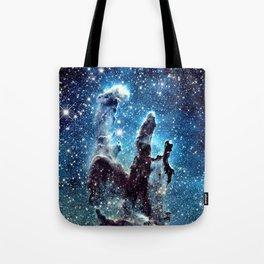Pillars of Creation Nebula: Ocean Blue Galaxy Tote Bag