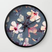 grey Wall Clocks featuring Butterflies and Hibiscus Flowers - a painted pattern by micklyn