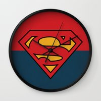 dc comics Wall Clocks featuring Super Man Logo Minimalist Art Print DC Comics by The Retro Inc