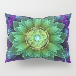 Blue and Green Pandoran Snap Lotus Fractal Flower Pillow Sham