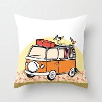vw bus Throw Pillows featuring VW BUS//birdy, hippy Life by Laura Pabst  de Cesar