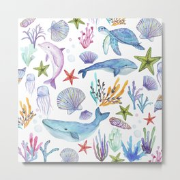 under the sea watercolor Metal Print