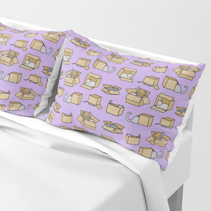 Cats in Cardboard Boxes, on Lavender Pillow Sham