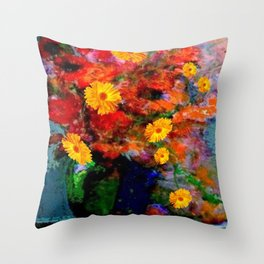 STILL LIFE PAINTING RED & YELLOW FLOWERS Throw Pillow