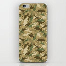 Camouflage Dinosaur Print Olive Green Khaki Tan iPhone Skin