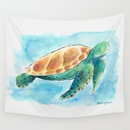 Sea Turtle Waterolour Wall Tapestry