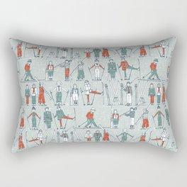 vintage ski linen Rectangular Pillow