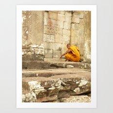 Monk at Angkor Wat Art Print