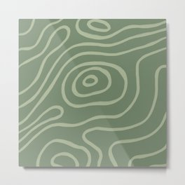 Topographic Map / Grayish Green Metal Print