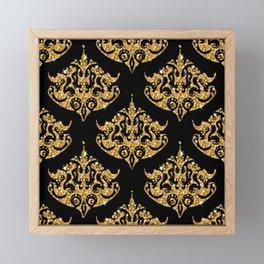 Black and faux gold glitter damasks patte Framed Mini Art Print