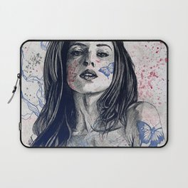 Nothing Violates This Nature: Blue (erotic drawing, nude butterfly girl) Laptop Sleeve