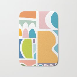 Playful Abstract Paper Cut-Out Shapes in Fun Color Bath Mat