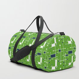 Intersecting Lines in Lime Green, Navy and White Duffle Bag