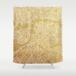Gold London map Shower Curtain
