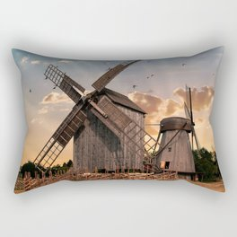 Traditonal dutch windmills at sunrise Rectangular Pillow