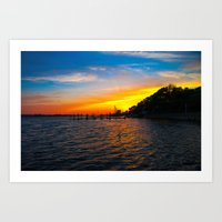 Sunset at the  Landing Art Print