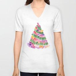 Floral Christmas tree in white Unisex V-Neck