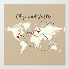 Personalized World Map Love Story Canvas Print