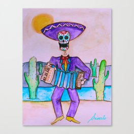 Mexican Jugador del Acordeon Dia de Los Muertos Painting Canvas Print