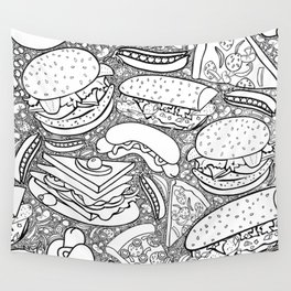 Junk and Health Food Frenzy Wall Tapestry