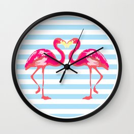 Flamingo, Flamingo t-shirt, watercolor poster, pink in blue stripes, circle Wall Clock