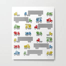Trucks Childrens Room Decor Metal Print