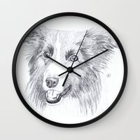 border collie Wall Clocks featuring Border Collie Sketch by R.A.Desilets