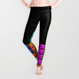Retro Video Game Blocks Pattern Leggings