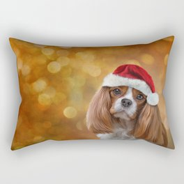 Drawing Dog breed Cavalier King Charles Spaniel  in red hat of Santa Claus Rectangular Pillow