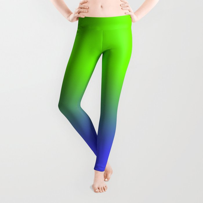 cc3d77094e31b Neon Blue and Neon Green Ombré Shade Color Fade Leggings by ...
