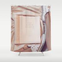 kurt cobain Shower Curtains featuring MOOD: Cobain by jodyanne
