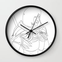 skyrim Wall Clocks featuring Skyrim Armor outline by J.A.C