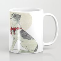 greyhound Mugs featuring GREYHOUND by HOLO-HOLO