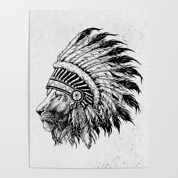 Tribal Lion Face Poster