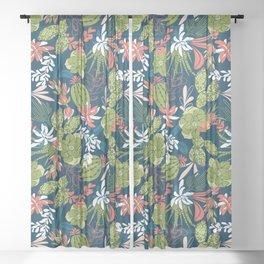 Succulent Garden Navy Sheer Curtain