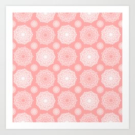 White Floral Mandala Pattern on Coral - Mix & Match with Simplicity of Life Art Print