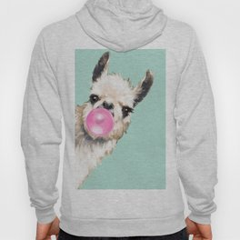 Bubble Gum Sneaky Llama in Green Hoody