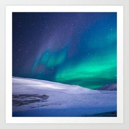 winter sky aurora Art Print