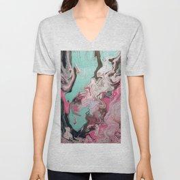Fluid Art Acrylic Painting, Pour 1 - Pink, Black, White, Turquoise Unisex V-Neck