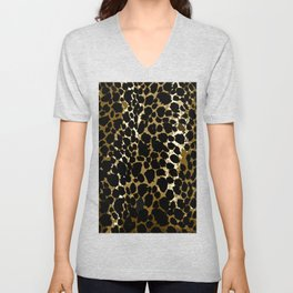 Animal Print Pattern Black and Brown Unisex V-Neck