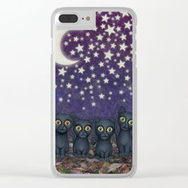 black cats, stars, & moon Clear iPhone Case