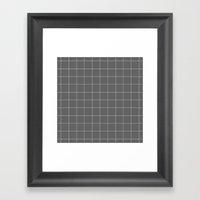 Grey and White Grid Framed Art Print