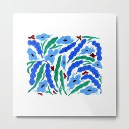 Blue Foxtail Flower Pattern Metal Print