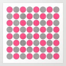 hot pink and gray dots Art Print
