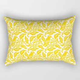 Bird and Berries Pattern Yellow Rectangular Pillow
