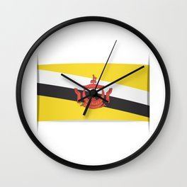 Flag of Brunei.  The slit in the paper with shadows.  Wall Clock