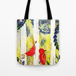 Birds on Birch - Yellow Tote Bag