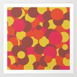 Autumn Retro Circles Design Art Print