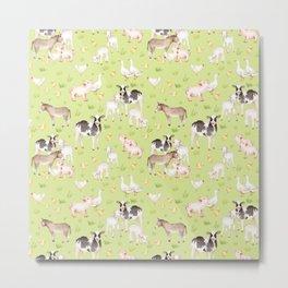 Farm Life - Little Cute Animals In A Meadow Metal Print