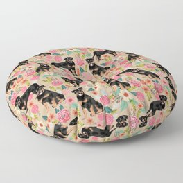 Rottweiler florals cute dog pattern pet friendly dog lover gifts for all dog breeds Floor Pillow